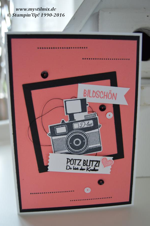Stampin up-Karte mit Fotoapparat-Wortspielerein