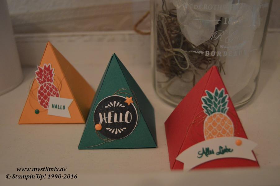 Stampin up- Dreieckverpackung-Freunde mit Ecken und Kanten- Pop of Paradise-MyStilmix