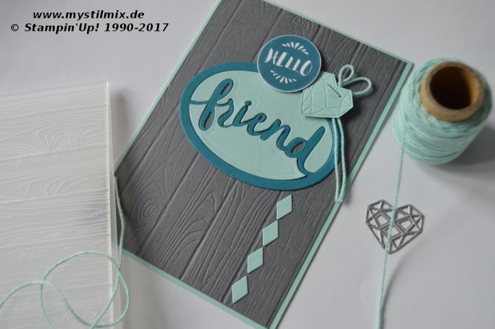 Stampin up - Freundschaftskarte - Thinlits Liebevolle Worte - MyStilmix