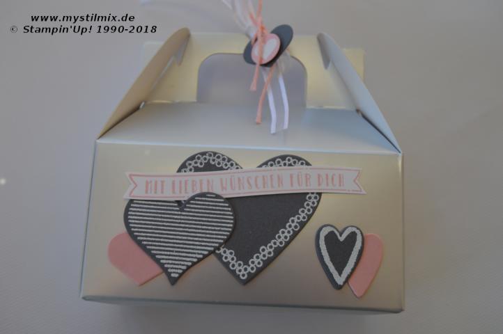 Stampin up - Silberne Minischachtel - Stempel Heart Happiness - MyStilmix