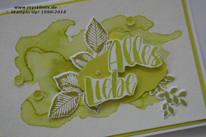 Stampin up - Aquarellkarte in Limette - Kraft der Natur - MyStilmix
