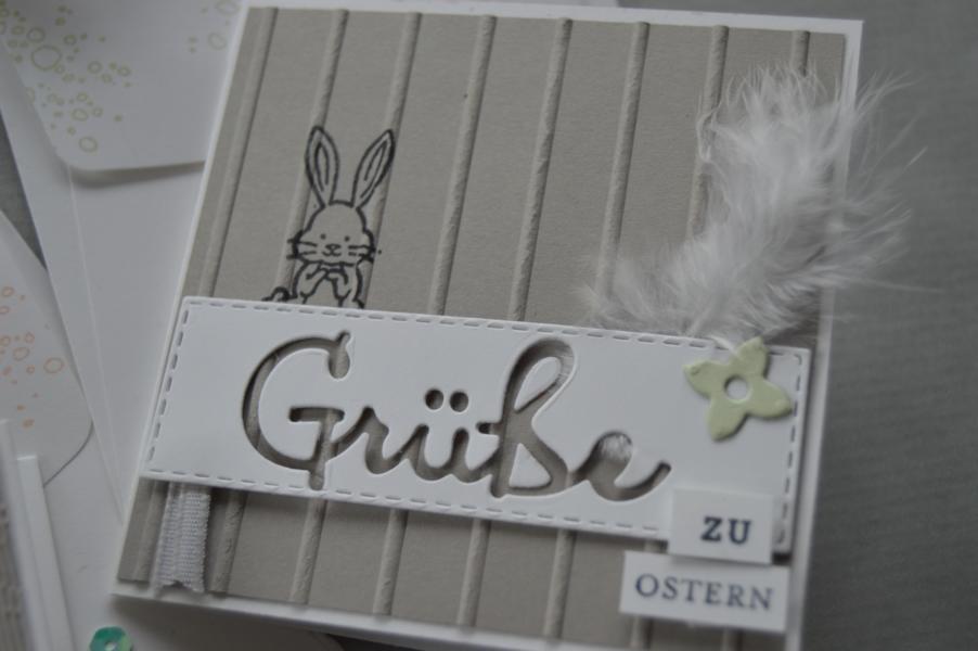 Stampin up - Hasengrüsse - Osterkarte - Framelits Schön geschrieben - MyStilmix3