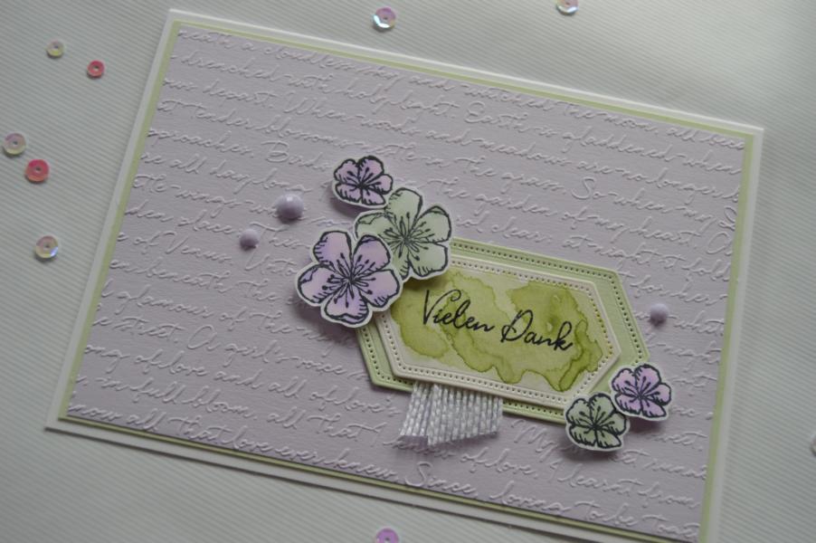 Stampin up - Dankeskarte - Prägeform Schreibschrift - Stempel Frei wie ein Vogel - MyStilmix